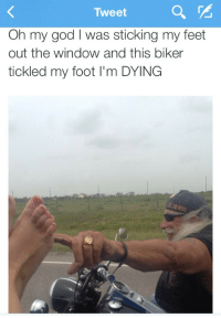 """God, Oh My God, and Tumblr: Tweet  Oh my god I was sticking my feet  out the window and this biker  tickled my foot I'm DYING <p><a class=""""tumblr_blog"""" href=""""http://dreamingofcossackia.tumblr.com/post/89598019759"""">dreamingofcossackia</a>:</p> <blockquote> <p>live to ride</p> </blockquote>"""