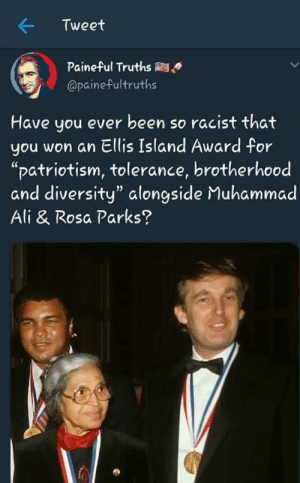 "Ali, Muhammad Ali, and Rosa Parks: Tweet  Paineful Truths  @painefultruths  Have you ever been so racist that  you won an Ellis Island Award for  ""patriotism, tolerance, brotherhood  and diversity"" alongside Muhammad  Ali & Rosa Parks? Is this photoshopped?"