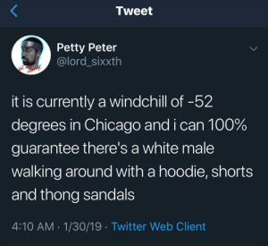 thong sandals brah by WillTradeBTCforPizza MORE MEMES: Tweet  Petty Peter  @lord_sixxth  it is currently a windchill of -52  degrees in Chicago and i can 100%  guarantee there's a white male  walking around with a hoodie, shorts  and thong sandals  4:10 AM-1/30/19 Twitter Web Client thong sandals brah by WillTradeBTCforPizza MORE MEMES