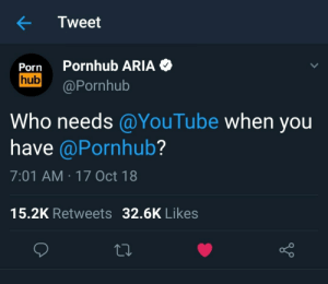 Meme, Memes, and Pornhub: Tweet  Porn Pornhub ARIA  hub Pornhub  Who needs@YouTube when you  have @Pornhub?  7:01 AM 17 Oct 18  15.2K Retweets 32.6K Likes  o D This can be good , Who needs * when you have ** meme . via /r/memes https://ift.tt/2pYGxDk