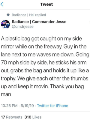 Bag man: Tweet  Radiance | Hai replied  Radiance | Commander Jesse  @cmdrjesse  A plastic bag got caught on my side  mirror while on the freeway. Guy in the  lane next to me waves me down. Going  70 mph side by side, he sticks his arm  out, grabs the bag and holds it up like a  trophy. We give each other the thumbs  up and keep it movin. Thank you bag  man  10:25 PM 6/19/19 Twitter for iPhone  17 Retweets 310 Likes Bag man