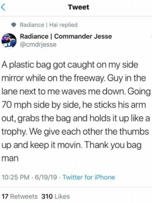 Got Caught: Tweet  Radiance Hai replied  Radiance | Commander Jesse  @cmdrjesse  A plastic bag got caught on my side  mirror while on the freeway. Guy in the  lane next to me waves me down. Going  70 mph side by side, he sticks his arm  out, grabs the bag and holds it up like a  trophy. We give each other the thumbs  up and keep it movin. Thank you bag  man  10:25 PM 6/19/19 Twitter for iPhone  17 Retweets 310 Likes