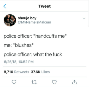 "meirl by iTposeforfun FOLLOW HERE 4 MORE MEMES.: Tweet  shoujo boy  @MyNamelsMalcum  police officer: ""handcuffs me*  me: *blushes*  police officer: what the fuck  6/25/18, 10:52 PM  8,710 Retweets 37.6K Likes meirl by iTposeforfun FOLLOW HERE 4 MORE MEMES."