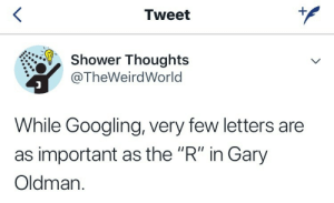 """Shower, Shower Thoughts, and Gary Oldman: Tweet  Shower Thoughts  @TheWeirdWorld  While Googling, very few letters are  as important as the """"R"""" in Gary  Oldman."""