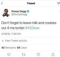 Blackpeopletwitter, Cookies, and Snoop: Tweet  Snoop Dogg  @SnoopDogg  Don't forget to leave milk and cookies  out 4 me tonite! #420eve  4/19/18, 7:55 PM  li View Tweet activity  42 Retweets 64 Likes <p>Everyone remember!420eve (via /r/BlackPeopleTwitter)</p>