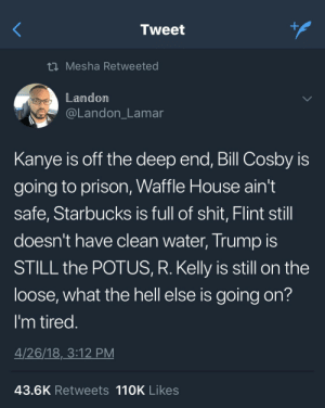 Bill Cosby, Kanye, and R. Kelly: Tweet  t Mesha Retweeted  Landom  @Landon_Lamar  Kanye is off the deep end, Bill Cosby is  going to prison, Waffle House ain't  safe, Starbucks is full of shit, Flint still  doesn't have clean water, Trump IS  STILL the POTUS, R. Kelly is still on the  loose, what the hell else is going on?  I'm tired  4/26/18,3:12 PM  43.6K Retweets 110K Likes Also, Toys-R-Us Is Out Of Business