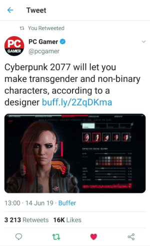 The Game, Transgender, and Work: Tweet  t You Retweeted  PC  @pcgamer  PC Gamer  GAMER  Cyberpunk 2077 will let you  make transgender and non-binary  characters, according to a  designer buff.ly/2ZqDKma  ACKCROUND  APPEARANC  BIDSTATE  WORK IN PROGRESS DOES NOT REPRESENT THE FINAL LOOK OF THE GAME  FACE  SGAR  DETAILED FACIAI DIERY  EYER  NOSE  маитH  EAW  SKIN TONE  13:00 14 Jun 19 Buffer  3 213 Retweets 16K Likes 🏳️‍🌈