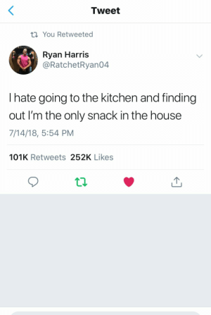 House, Tweet, and Harris: Tweet  t You Retweeted  Ryan Harris  @RatchetRyan04  I hate going to the kitchen and finding  out I'm the only snack in the house  7/14/18, 5:54 PM  101K Retweets 252K Likes