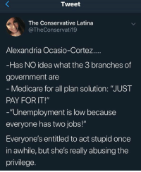 "Branches: Tweet  The Conservative Latina  @TheConservati19  Alexandria Ocasio-Cortez.  Has NO idea what the 3 branches of  government are  Medicare for all plan solution: ""JUST  PAY FOR IT!""  -""Unemployment is low because  everyone has two jobs!""  Everyone's entitled to act stupid once  in awhile, but she's really abusing the  privilege."
