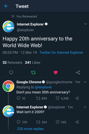 Happy 30th Birthday World Wide Web! via /r/memes https://ift.tt/2F1iwT1: Tweet  ti You Retweeted  Internet Explorer  @iexplorer  Happy 20th anniversary to the  World Wide Web!  08:05 PM 12 Mar 19 Twitter for Internet Exploren  32 Retweets 241 Likes  Google Chrome@googlechrome1  Replying to @iexploren  Don't you mean 30th anniversary?  854  6348  Internet Explorer@iexplorer 1m  Wait isn't it 2009?  230 264 345 o  230 more replies Happy 30th Birthday World Wide Web! via /r/memes https://ift.tt/2F1iwT1