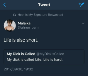 Damn girl!: Tweet  tl Heat Is My Signature Retweeted  Malaika  @ahren_bami  Life is also short.  My Dick is Called @MyDicklsCalled  My dick is called Life. Life is hard.  2017/09/30, 19:32 Damn girl!