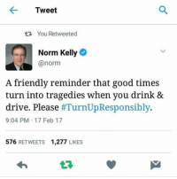 Memes, 🤖, and Driver: Tweet  tR, You Retweeted  Norm Kelly  @norm  A friendly reminder that good times  turn into tragedies when you drink &  drive. Please  #TurnUpResponsibly.  9:04 PM 17 Feb 17  576  RETWEETS 1,277  LIKES Bringing this back because it's march break here and 🍸 + 🚗 can end in awful events. Turn up responsibly, have a designated sober driver or get a taxi-uber-whatever the kids are using nowadays. Stay safe kiddos! -Charlotte