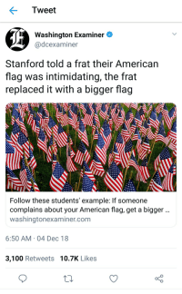 Freedom Rings: Tweet  Washington Examiner  @dcexaminer  Stanford told a frat their American  flag was intimidating, the frat  replaced it with a bigger flag  Follow these students' example: If someone  complains about your American flag, get a bigger  washingtonexaminer.com  6:50 AM 04 Dec 18  3,100 Retweets 10.7K Likes