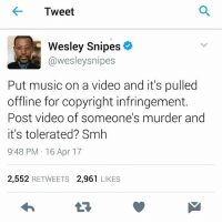 UGH: Tweet  Wesley Snipe  @wesley snipes  Put music on a video and it's pulled  offline for copyright infringement.  Post video of someone's murder and  it's tolerated? Smh  9:48 PM 16 Apr 17  2,552  RETWEETS  2.961  LIKES UGH