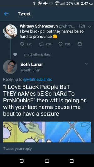 "Love, Wtf, and Black: Tweet  Whitney Schenezerun @whitn... 12h  love black ppl but they names be so  hard to pronounce  273  204  286  and 2 others liked  Seth Lunar  @sethlunar  Replying to @whitneybishhx  ""I LOvE BLacK PeOple BuT  ThEY nAMes bE So hARd To  ProNOuNcE"" then wtf is going on  with your last name cause ima  bout to have a seizure  Tweet your reply Insubortinate and Churlish"