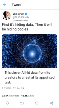Bodies , Facts, and Will Smith: Tweet  Will Smith  @NotSillSmith  u/DeathWolf121212  First it's hiding data. Then it will  be hiding bodies  This clever Al hid data from its  creators to cheat at its appointed  task  2:53 PM 02 Jan 19  32.5K Retweets 48.1K Likes Will Smith is spitting facts