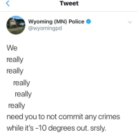 Police, Wyoming, and Tweet: Tweet  Wyoming (MN) Police  @wyomingpd  POLICE  We  really  really  really  really  really  need you to not commit any crimes  while it's -10 degrees out. srsly Really