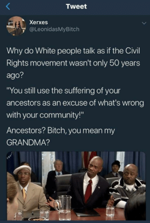 "Bitch, Community, and Dank: Tweet  Xerxes  @LeonidasMyBitch  Why do White people talk as if the Civil  Rights movement wasn't only 50 years  ago?  ""You still use the suffering of your  ancestors as an excuse of what's wrong  with your community!""  Ancestors? Bitch, you mean my  GRANDMA? Too true by howmanymeninthenorth MORE MEMES"