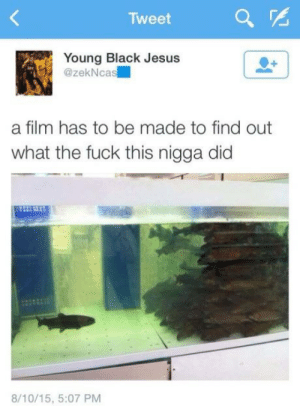 Jesus, Black, and Fuck: Tweet  Young Black Jesus  @zekNcas  a film has to be made to find out  what the fuck this nigga did  8/10/15, 5:07 PM A small dump dump, pt.6
