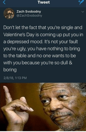 the truth has been said by sari13371 FOLLOW 4 MORE MEMES.: +  Tweet  Zach Svobodny  @ZachSvobodny  Don't let the fact that you're single and  Valentine's Day is coming up put you in  a depressed mood. It's not your fault  you're ugly, you have nothing to bring  to the table and no one wants to be  with you because you're so dull &  boring  2/8/18, 1:13 PM the truth has been said by sari13371 FOLLOW 4 MORE MEMES.