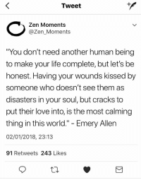 """Life, Love, and Twitter: Tweet  Zen Moments  @Zen_Moments  You don't need another human being  to make your life complete, but let's be  honest. Having your wounds kissed by  someone who doesn't see them as  disasters in your soul, but cracks to  put their love into, is the most calming  thing in this world."""" - Emery Allen  02/01/2018, 23:13  91 Retweets 243 Likes <p>Zen Moments is my new favourite wholesome Twitter Page</p>"""