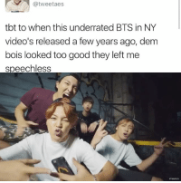 wassup wassup . . . . . Credit to owner✌: tweetaes  tbt to when this underrated BTS in NY  video's released a few years ago, dem  bois looked too good they left me  speechless wassup wassup . . . . . Credit to owner✌