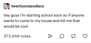 Meirl: twentyonezodiacs  hey guys i'm starting school soon so if anyone  wants to come to my house and kill me that  would be cool  273,948 notes Meirl
