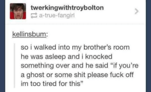 """Omg, Shit, and True: twerkingwithtroybolton  a-true-fangirl  kellinsbum  so i walked into my brother's room  he was asleep and i knocked  something over and he said """"if you're  a ghost or some shit please fuck off  im too tired for this"""" Aint nobody got time for dat.omg-humor.tumblr.com"""