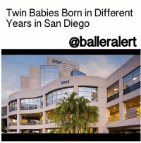 Clock, Memes, and Twins: Twin Babies Born in Different  Years in San Diego  @balleralert  A MARY BIRCH  WOMEN  3003 Twin Babies Born in Different Years in San Diego - blogged by @MsJennyb ⠀⠀⠀⠀⠀⠀⠀⠀⠀ ⠀⠀⠀⠀⠀⠀⠀⠀⠀ For the second consecutive year, a set of twins in SanDiego will celebrate their birthdays on two separate days in two different years. ⠀⠀⠀⠀⠀⠀⠀⠀⠀ ⠀⠀⠀⠀⠀⠀⠀⠀⠀ Born at Sharp Mary Birch Hospital for Women & Newborns, one baby girl entered the world in 2016 and the other, just four minutes later, arrived at midnight on January 1, 2017. ⠀⠀⠀⠀⠀⠀⠀⠀⠀ ⠀⠀⠀⠀⠀⠀⠀⠀⠀ Just last year, a baby boy and girl arrived one minute before and two minutes after the clock struck twelve on New Year's day at San Diego Kaiser Permanente Zion Medical Center.