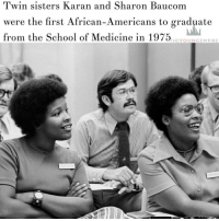 """👏👏✊🙌 """"The UMKC School of Medicine was founded in 1971 as a six-year program. . After graduating from Central High School in Kansas City, Karen and Sharon Baucom attended Kansas University Medical School (KU Med). . In 1971, the sisters transferred to UMKC and joined the newly created medical program. . The sisters graduated in 1975 becoming the first African-American students to complete the medical program. . After graduating, Karen Baucom, MD, went on to serve as a medical staff in various hospitals in Kansas and Missouri. In 2001 Karen established the Baucom Institute for Longevity and Life Enhancement. . Sharon Baucom, MD, began working as a physician for KU Med in 1975. Sharon later became the Asst. Professor for KU's Department of Family practice until 1981. . Sharon became chief medical officer for the Department of Public Safety and deputy director of Clinical Services in Richmond, VA."""" REPOST @theyoungempire_ - BlackHistoryMonth RosaParks mlkjr mlk frederickdouglass blacklivesmatter: Twin sisters Karan and Sharon Baucom  were the first African-Americans  to graduate  from the School of Medicine in 1975  THEY OUN GEM PIRE 👏👏✊🙌 """"The UMKC School of Medicine was founded in 1971 as a six-year program. . After graduating from Central High School in Kansas City, Karen and Sharon Baucom attended Kansas University Medical School (KU Med). . In 1971, the sisters transferred to UMKC and joined the newly created medical program. . The sisters graduated in 1975 becoming the first African-American students to complete the medical program. . After graduating, Karen Baucom, MD, went on to serve as a medical staff in various hospitals in Kansas and Missouri. In 2001 Karen established the Baucom Institute for Longevity and Life Enhancement. . Sharon Baucom, MD, began working as a physician for KU Med in 1975. Sharon later became the Asst. Professor for KU's Department of Family practice until 1981. . Sharon became chief medical officer for the Department of Public Safety and"""