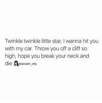 Memes, Break, and Star: Twinkle twinkle little star, I wanna hit you  with my car. Throw you off a cliff so  high, hope you break your neck and  die.A  e. @sarcasm only