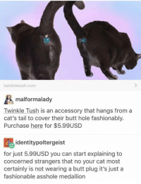 Tushie: twinkletush.com  malformalady  Twinkle Tush is an accessory that hangs from a  cat's tail to cover their butt hole fashionably  Purchase here for $5.99USD  identitypoltergeist  for just 5.99USD you can start explaining to  concerned strangers that no your cat most  certainly is not wearing a butt plug it's just a  fashionable asshole medallion