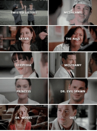Dr. Evil , Memes, and Grey's Anatomy: TWISTED SISTERS  MCDREAMY  SATAN  THE NAZI  LEXIPEDIA  MCSTEAMY  PRINCESSs  DR. EVIL SPAWN  DR. MODE  007 Greys Anatomy nicknames! 😍 https://t.co/bu6NFlx8Lg