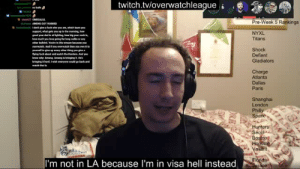 Tumblr, Twitch, and Blog: twitch.tvloverwatchleague  Pre-Week 5 Rankings  upport, whu  NYXL  Titans  overwatch And you  Shock  Defiant  Gladiators  hy An  Charge  Atlanta  Dallas  Paris  Shanghai  London  Spa  Hunters  Se  Bo  aliant  I'm not in LA because I'm in visa hell instead pkcaramel:  How Ameng evolved mid game