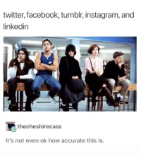 Facebook, Instagram, and LinkedIn: twitter, facebook, tumblr, instagram, and  linkedin  thecheshirecass  It's not even ok how accurate this is Apologies if this is a repost but I agree