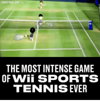 Memes, Sports, and Twitter: TWITTER: @FP LL  THE MOST INTENSE GAME  OF Wii SPORTS  TENNIS EVER That guy wearing red at the back doesn't know what to do 😂😂 -- 🎮 - @GAMINGbible 💰- @ODDSbible 🐶 - @PRETTY52 📸 - @LENSbible 📖 - @FACTSbible 😂 - @LADbible ⚽ - @SPORTbible 🍔 - @FOODbible