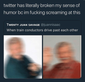 Fucking, Savage, and Twitter: twitter has literally broken my sense of  humor bc im fucking screaming at this  TWENTY JUAN SAVAGE @juannisaac  When train conductors drive past each other
