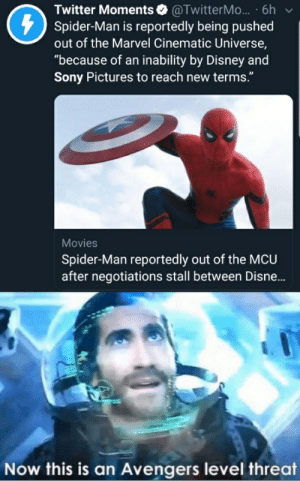 """Disney, Movies, and Sony: Twitter Moments @TwitterM... 6h  Spider-Man is reportedly being pushed  out of the Marvel Cinematic Universe,  """"because of an inability by Disney and  Sony Pictures to reach new terms.""""  Movies  Spider-Man reportedly out of the MCU  after negotiations stall between Disne...  Now this is an Avengers level threat A BIG avengers level threat"""