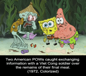Conspiring with the enemy.: Two American POWs caught exchanging  information with a Viet Cong soldier over  the remains of their final meal.  (1972, Colorized) Conspiring with the enemy.