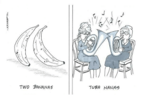 know the difference: TWO BANANAS  TUBA NANAS  2/- know the difference