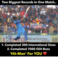 #RohitSharma #HitMan #AsiaCup2018 #IndVPak: Two Biggest Records In One Match..  LAUGHINO  0  1. Completed 300 International Sixes  2. Completed 7000 ODI Runs  Hit-Man, For You #RohitSharma #HitMan #AsiaCup2018 #IndVPak