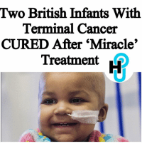 Memes, Leukemia, and 🤖: Two British Infants With  Terminal Cancer  CURED After Miracle'  Treatment HU Staff: Rivet Soro @rivetsoro Two babies in England, Layla Richards, 11 months, and an unidentified 16-month-old, have been cured of Leukemia. Both infants have been in remission for at least one year post-treatment. ____________________________________________________ Doctors at London's Great Ormond Street Hospital claim to have treated the cancer using genetically engineered immune cells. ____________________________________________________ The immune cells have been designed to attack cancer cells. This came after previous attempts to treat the infants using traditional methods had failed. __________________________________________________________ Read more at thehollywoodunlocked.com