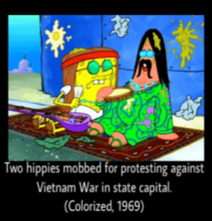 Fuck the system: Two hippies mobbed for protesting against  Vietnam War in state capital.  (Colorized, 1969) Fuck the system