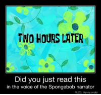 LL: TWO HOURS LATER  Did you just read this  in the voice of the Spongebob narrator  RJ23, ifunny.mobi LL