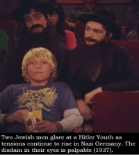 Germany, Hitler, and Jewish: Two Jewish men glare at a Hitler Youth as  tensions continue to rise in Nazi Germany. The  disdain in their eyes is palpable (1937) Unrest in Nazi Germany - 1937