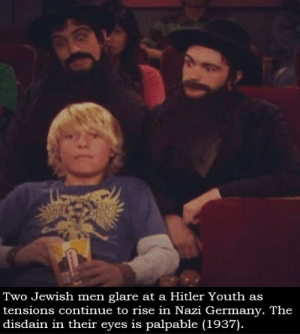 Germany, Hitler, and Jewish: Two Jewish men glare at a Hitler Youth as  tensions continue to rise in Nazi Germany. The  disdain in their eyes is palpable (1937). Warning: this photo is not kosher