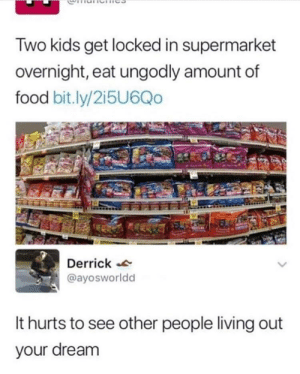 me irl: Two kids get locked in supermarket  overnight, eat ungodly amount of  food bit.ly/2i5U6Qo  Derrick  @ayosworldd  It hurts to see other people living out  your dream me irl