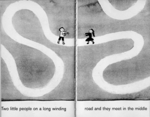slongo: A Moon or a Button by Ruth Krauss and Remy Charlip, 1959: Two little people on a long winding  road and they meet in the middle slongo: A Moon or a Button by Ruth Krauss and Remy Charlip, 1959