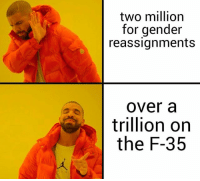 Thoughts?: two million  for gender  reassignments  over a  trillion oin  the F-35 Thoughts?