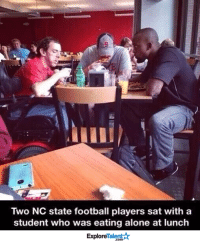 Sometimes the littlest gestures make the biggest impacts <3: Two NC state football players sat with a  student who was eating alone at lunch  TalentA  Explore Sometimes the littlest gestures make the biggest impacts <3